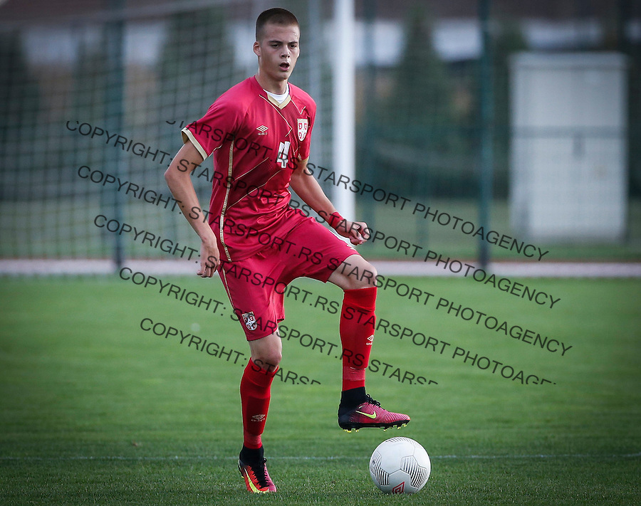 Fudbal Soccer<br /> International Friendly-Prijateljski mec<br /> Srbija U17 v Belorusiaj U17<br /> Ivan Ilic<br /> Stara Pazova, 20.09.2016<br /> foto: Srdjan Stevanovic/Starsportphoto &copy;