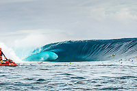 CLOUDBREAK, Tavarua/Fiji (Friday, June 8, 2012) The biggest wave that came through on Filthy Friday estimated to be in the 45'-50' range and the biggest wave ever seen at Cloudbreak.–  The best day of paddle surfing ever seen at Cloudbreak happen today with the swell in the12'-15' range from the south.  The surf pumped all day with amazing performances from of the world best big wave paddle in surfers. The Volcom Fiji Pro completed the last two heats of Round Two with Bede Durbidge and Kai Otten advancing before being call off for the day. Photo: joliphotos.com