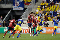 Kyle Beckerman (6) of the United States heads the ball. The men's national team of the United States (USA) was defeated by Ecuador (ECU) 1-0 during an international friendly at Red Bull Arena in Harrison, NJ, on October 11, 2011.