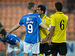 Alashkert FC v St Johnstone...02.07.15   Republican Stadium, Yerevan, Armenia....UEFA Europa League Qualifier.<br /> Steven MacLean and Vahagn Minasyan square-up<br /> Picture by Graeme Hart.<br /> Copyright Perthshire Picture Agency<br /> Tel: 01738 623350  Mobile: 07990 594431