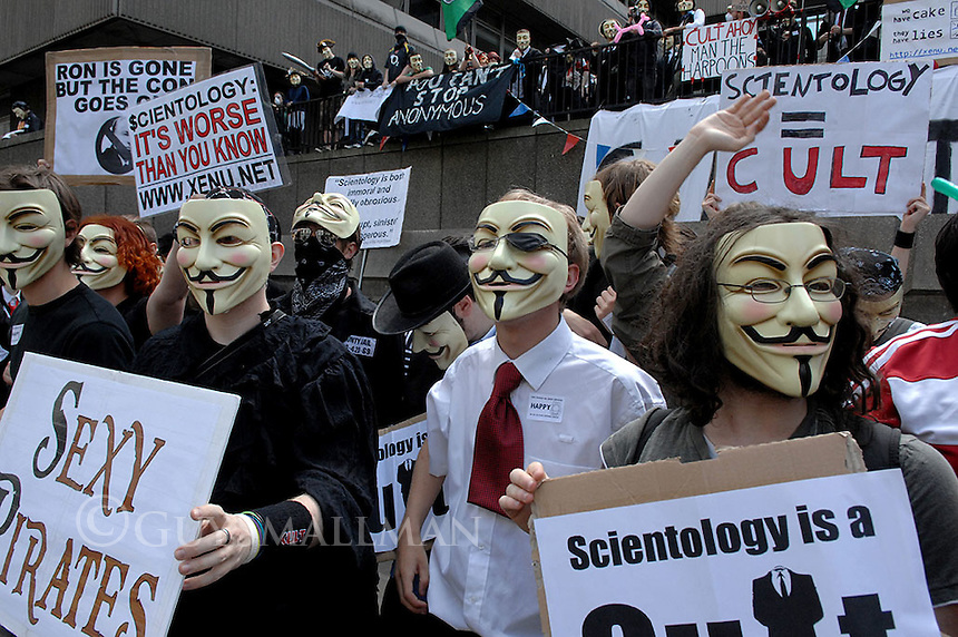 Anti Scientology Protest. Church of Scientology headquarters London.                                .The protesters were claiming that the  Church of Scientology were a cult and were responsible for the brainwashing of members.