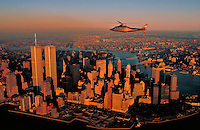 Lower Manhattan with Helicopter, New York City, NY sunset