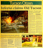 This is the Tucson Citizen front page for April 25, 1995, when Old Tucson Studios caught fire.