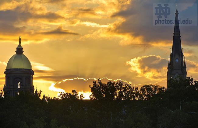 Sept., 5 2013; Golden Dome at sunrise. Photo by Barbara Johnston/University of Notre Dame