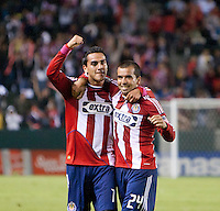 CARSON, CA – OCTOBER 9: Chivas midfielders Jesus Padilla (10) and Rodolfo Espinosa (24) during a soccer match at Home Depot Center, October 9, 2010 in Carson California. Final score Chivas USA 3, Toronto FC 0...