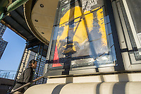 """A poster outside the Angelika Film Center in Greenwich Village in New York on Saturday, December 7, 2013 advertises the biography film of the late Nelson Mandela, """"Mandela: Long Walk to Freedom"""", based on his 1994 autobiography. The South African civil rights activist passed away at the age of 95. (© Richard B. Levine)"""