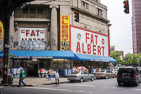 Fat Albert department store, located in a former Manufacturers Hanover Trust Company, on Flushing Avenues  in the Bushwick neighborhood of Brooklyn in New York on Sunday, June 16, 2013. As more and more hipsters move into the neighborhood the ethnicity of the area is changing.   (© Richard B. Levine)