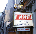 Theatre Marquee for the Broadway Opening Night Performance for 'Indecent' at The Cort Theatre on April 18, 2017 in New York City.