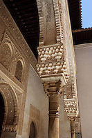Detail of Capital and Arch, the courtyard of the Mexuar, The Mexuar Palace, 14th century, under the reign of Isma?il I, substantial alterations during the reign of Yusuf I (1333 ? 1354) and of his son Muhammad V (1354 ? 1359, 1362 ? 1391), The Alhambra, Granada, Andalusia, Spain. Picture by Manuel Cohen