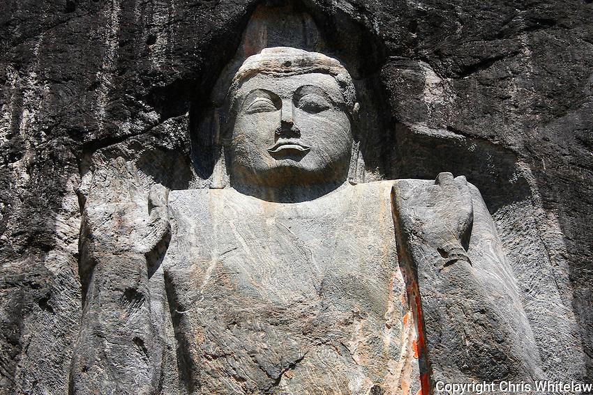 Rock-cut Standing Buddha Statue (preaching pose) (15 metres), Buduruwagala near Wellawaya, Sri Lanka