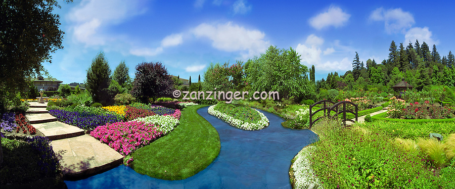 Opus one Winery Outdoor Garden Blue Sky Trees Colorful Panorama CGI Backgrounds, ,Beautiful Background