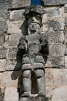 """Standing Atlante, Eastern façade of Codz Poop (""""Rolled-up matting"""" in Maya), Carved panels, Puuc Architecture, 700-900 AD, Kabah, Yucatan, Mexico. Picture by Manuel Cohen"""