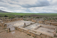 The House of Orpheus, with floor mosaics of Aphrodite bathing surrounded by animals (left) and sea creatures (right) in the bathing room, Volubilis, Northern Morocco. Volubilis was founded in the 3rd century BC by the Phoenicians and was a Roman settlement from the 1st century AD. Volubilis was a thriving Roman olive growing town until 280 AD and was settled until the 11th century. The buildings were largely destroyed by an earthquake in the 18th century and have since been excavated and partly restored. Volubilis was listed as a UNESCO World Heritage Site in 1997. Picture by Manuel Cohen