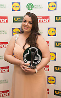 19/05/2015 <br /> Lynn Cahill with her award<br /> during the Irish mirror pride of Ireland awards at the mansion house, Dublin.<br /> Photo: gareth chaney Collins