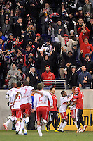 Juan Agudelo (17) of the New York Red Bulls celebrates scoring during the second half. The New York Red Bulls defeated the Seattle Sounders 1-0 during a Major League Soccer (MLS) match at Red Bull Arena in Harrison, NJ, on March 19, 2011.