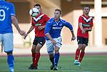 St Johnstone v FC Minsk...01.08.13 Europa League Qualifier at Neman Stadium, Grodno, Belarus...<br /> Liam Caddis breaks forward<br /> Picture by Graeme Hart.<br /> Copyright Perthshire Picture Agency<br /> Tel: 01738 623350  Mobile: 07990 594431