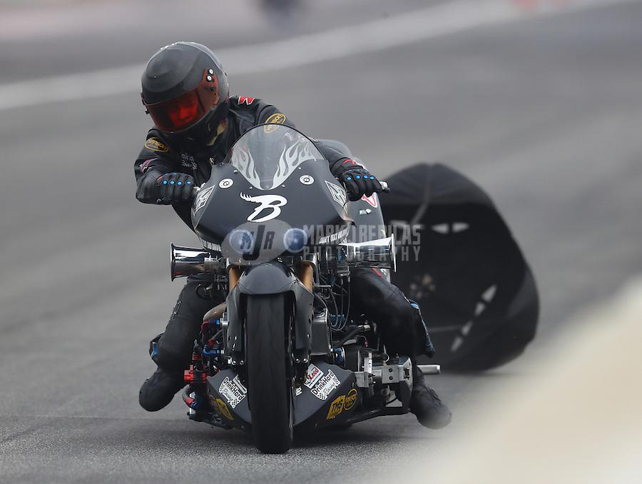 Feb 10, 2017; Pomona, CA, USA; NHRA top fuel nitro Harley rider Bob Malloy during qualifying for the Winternationals at Auto Club Raceway at Pomona. Mandatory Credit: Mark J. Rebilas-USA TODAY Sports