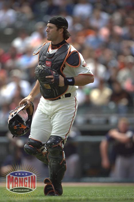 Mike Matheny. Baseball: Milwaukee Brewers vs San Francisco Giants. April 24, 2005 at AT&T Park in San Francisco.