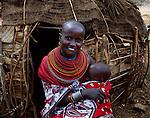 Samburu mother  and child   , near,  Maralal Northern Kenya .