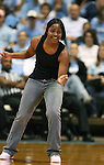 "13 October 2006: North Carolina's Ivory Latta dances as the players entertain the crowd. The University of North Carolina at Chapel Hill Tarheels held their first Men's and Women's basketball practices of the season as part of ""Late Night with Roy Williams"" at the Dean E. Smith Center in Chapel Hill, North Carolina."