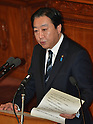 January 24, 2012, Tokyo, Japan - Japans Prime Minister Yoshihiko Noda delivers his policy speech as the ordinary session of the Diet convenes in Tokyo on Tuesday, January 24, 2012...Noda is expected to face a negotiation with the opposition camps on the passage of bills to raise the nations sales tax from the current five percent to eight percent in April 2014 and 10 percent in October 2015. The opposition bloc is taking a confrontational approach and stepping up efforts to dissolve the lower house for an election. (Photo by Natsuki Sakai/AFLO) AYF -mis-.