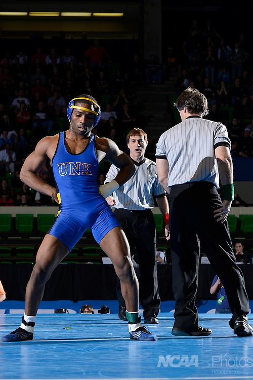 09 MAR 2013:  Raufeon Stots of the University of Nebraska- Kearney celebrates his victory over Jacob Horn of St. Cloud State University during the Division II Men's Wrestling Championship held at the Birmingham CrossPlex in Birmingham, AL.  Stots defeated Horn 4-3 for the national title in the 149 lb weight class.  Jamie Schwaberow/NCAA Photos