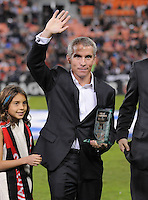 Former D.C. United Player Richie Williams salutes the fans after the induction to the D.C. United Wall of Fame, The Chicago Fire defeated D.C. United 2-1 at RFK Stadium, Saturday October 15, 2011.