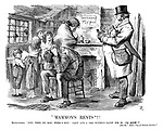 """""""Mammon's Rents""""!! House-jobber. """"Now, then, my man; Week's hup! Can't 'ave a 'ome without payin' for it, yer know!"""" [See the """"bitter cry of outcast London."""""""