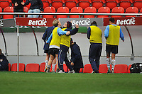 USA reserves Megan Rapinoe and Lori Lindsay celebrate the USA game winning goal.  The USA defeated Norway 2-1 at Olhao Stadium on February 26, 2010 at the Algarve Cup.
