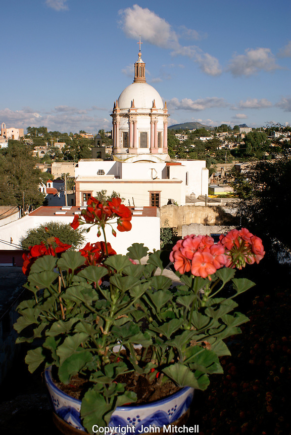 The dome of the Parroquia San Pedro church in the 19th-century mining town of Mineral de Pozos, Guanajuato, Mexico