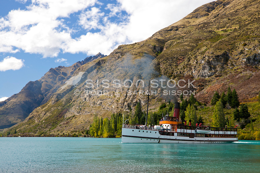 TSS Earnslaw leaving Walter Peak Station on a summer's day, Lake Wakatipu, Queenstown
