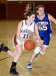 NAUGATUCK, CT- 02 JAN 06- 010207JT19- <br /> Naugatuck's Julie Piroscafo dribbles past Seymour's Jess Biercevicz during Tuesday's game at Naugatuck. Seymour won 41-44.<br /> Josalee Thrift Republican-American