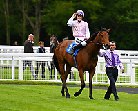 Winner of The Smith & Williamson Maiden Fillies' Stakes (Div1), Fleur Forsyte ridden by Daniel Muscott and trained by James Fanshawe enter the winners enclosure during Afternoon Racing at Salisbury Racecourse on 18th May 2017