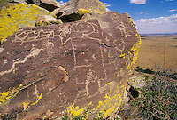 Petroglyphs overlook the Galesto Basin in the near Galesteo, New Mexico