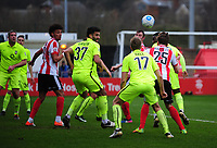Lincoln City's Sean Raggett scores the opening goal <br /> <br /> Photographer Andrew Vaughan/CameraSport<br /> <br /> Buildbase FA Trophy Semi Final Second Leg - Lincoln City v York City - Saturday 18th March 2017 - Sincil Bank - Lincoln<br />  <br /> World Copyright &copy; 2017 CameraSport. All rights reserved. 43 Linden Ave. Countesthorpe. Leicester. England. LE8 5PG - Tel: +44 (0) 116 277 4147 - admin@camerasport.com - www.camerasport.com