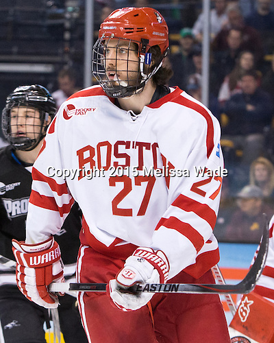 Doyle Somerby (BU - 27) - The Providence College Friars defeated the Boston University Terriers 4-3 to win the national championship in the Frozen Four final at TD Garden on Saturday, April 11, 2015, in Boston, Massachusetts.