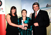 NO REPRO FEE: 27.1.12: Travel Extra Travel Journalist of the Year Awards Announced In Dublin. Pictured was Sharon Jordon from Insight Vacations and Eoghan Corry, Editor of Travel Extra presenting 'Broadcasting' category winner to Valerie Cox (centred) from RTE Radio. Picture Collins Photos.