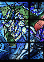 Isaac blessing Jacob, stained glass window, 1974, by Marc Chagall, 1887-1985, with the studio of Jacques Simon, left lancet window in the axial chapel of the apse of the Cathedrale Notre-Dame de Reims or Reims Cathedral, Reims, Champagne-Ardenne, France. The cathedral was built 1211-75 in French Gothic style with work continuing into the 14th century, and was listed as a UNESCO World Heritage Site in 1991. Picture by Manuel Cohen