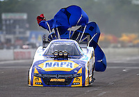 Aug 20, 2016; Brainerd, MN, USA; NHRA funny car driver Ron Capps during qualifying for the Lucas Oil Nationals at Brainerd International Raceway. Mandatory Credit: Mark J. Rebilas-USA TODAY Sports