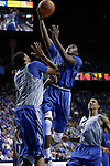 Doron Lamb puts the ball up in the Blue-White Scrimmage at Rupp Arena Wednesday night, October 26, 2011.  Photo by Scott Hannigan