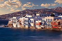 The picturesque Little Venice in Mykonos, Greece