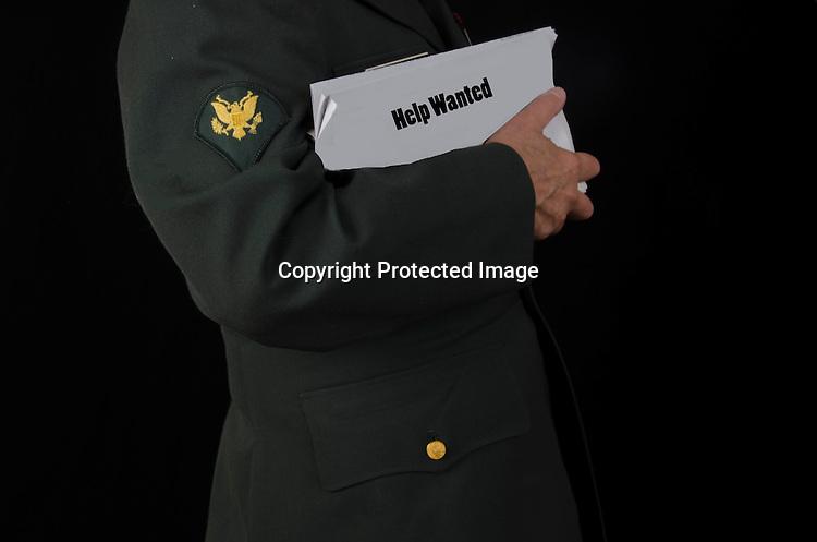 Stock photo of veteran seeking employment
