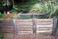 Compost Bin 3-stage wood and mesh type in garden