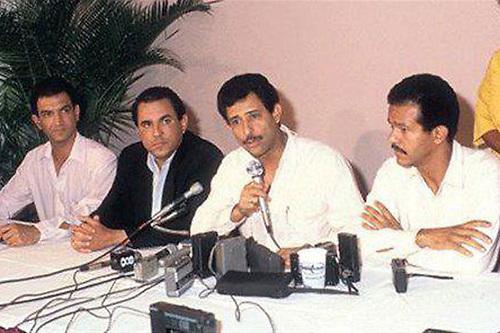 Víctor Grimaldi, Vicente Bengoa, Felucho Jiménez y Leonel Fernández, en una fotografía que data de los años 80
