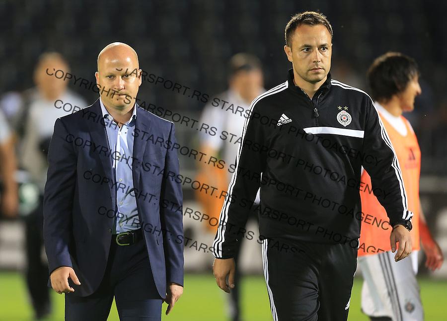 Fudbal Football Soccer<br /> UEFA Champions league-2nd qualifying round<br /> Partizan v HB Torshavn (Faroe Islands)<br /> Head coach Marko Nikolic (L) and Bojan Leontijevic<br /> Beograd, 07.15.2014.<br /> foto: Srdjan Stevanovic/Starsportphoto &copy;