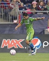 Seattle Sounders forward David Estrada (16) prepares to pass. In a Major League Soccer (MLS) match, the Seattle Sounders FC defeated the New England Revolution, 2-1, at Gillette Stadium on October 1, 2011.