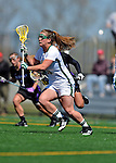 28 April 2012: University of Vermont Catamount defender Danielle O'Dwyer, a Junior from Braintree, MA, in action against the University at Albany Great Dames at Virtue Field in Burlington, Vermont. The Lady Danes defeated the Lady Cats 12-10 in America East Women's Lacrosse. Mandatory Credit: Ed Wolfstein Photo