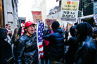 NEW YORK, USA - MARCH 4, Supporters of U.S president Donald Trump shout slogans to protesters during a march to Trump Tower on March 4 , 2017 in New York.  VIEWpress/Eduardo MunozAlvarez