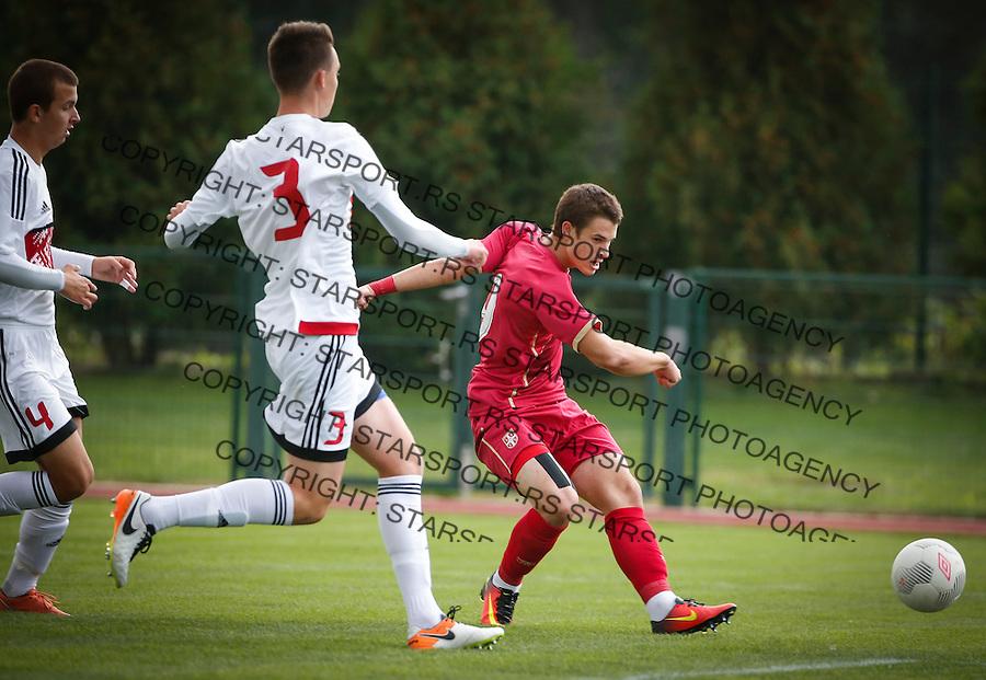 Fudbal Soccer<br /> International Friendly-Prijateljski mec<br /> Srbija U17 v Belorusiaj U17<br /> Filip Stuparevic (R)<br /> Stara Pazova, 20.09.2016<br /> foto: Srdjan Stevanovic/Starsportphoto &copy;