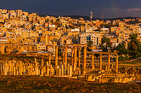 Ruins of the Greco-Roman city of Gerasa, with the modern city of Jerash behind (near Amman), Jordan.